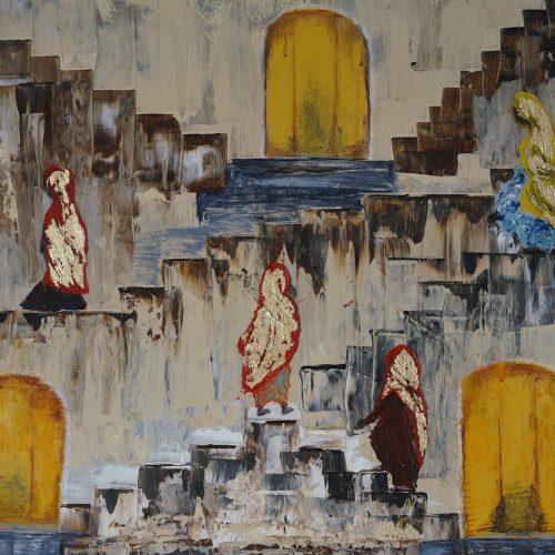 3_Frauen Am Ganges, Notburga Di Pauli, Acryl, 60x80