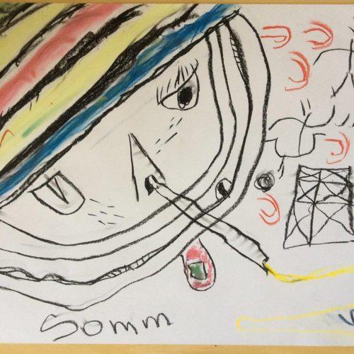 9_Der Kleine Drache Windet Sich Durch Kosmische Weiten, Um Dem Altenhofener Fliegenwahnsinn Zu Entgehen - Vergeblich!Florian Sommerfeld, Kreide, 60x80