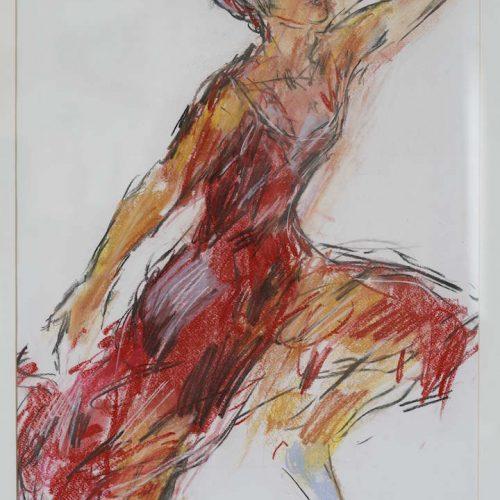 8_Tänzerin 4, Karl Breuer, Farbkreide, 85x65 Gerahmt