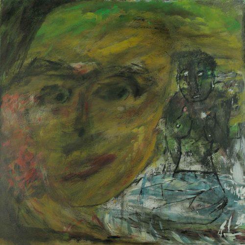 16_Gedanken, Asissta, Alois Winkler, Acryl, 50x50