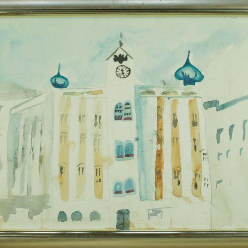 37_Rathaus Gmunden, Sandra Flixeder, Aquarell 36x46 Gerahmt