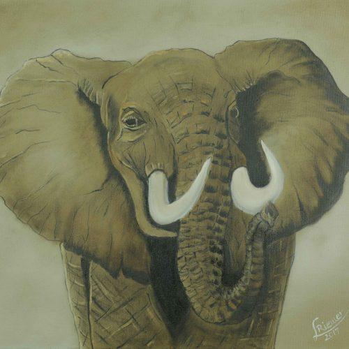 42_Elefant, Lydia Riemer, Ölbild Nass In Nass,40x50