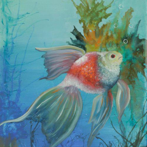 43_Fantasy Fish, Lydia Riemer, Ölbild Nass In Nass, 58x25